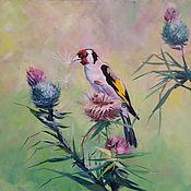 Картины ручной работы. Ярмарка Мастеров - ручная работа Картина маслом птица  Щегол и цветы. Handmade.