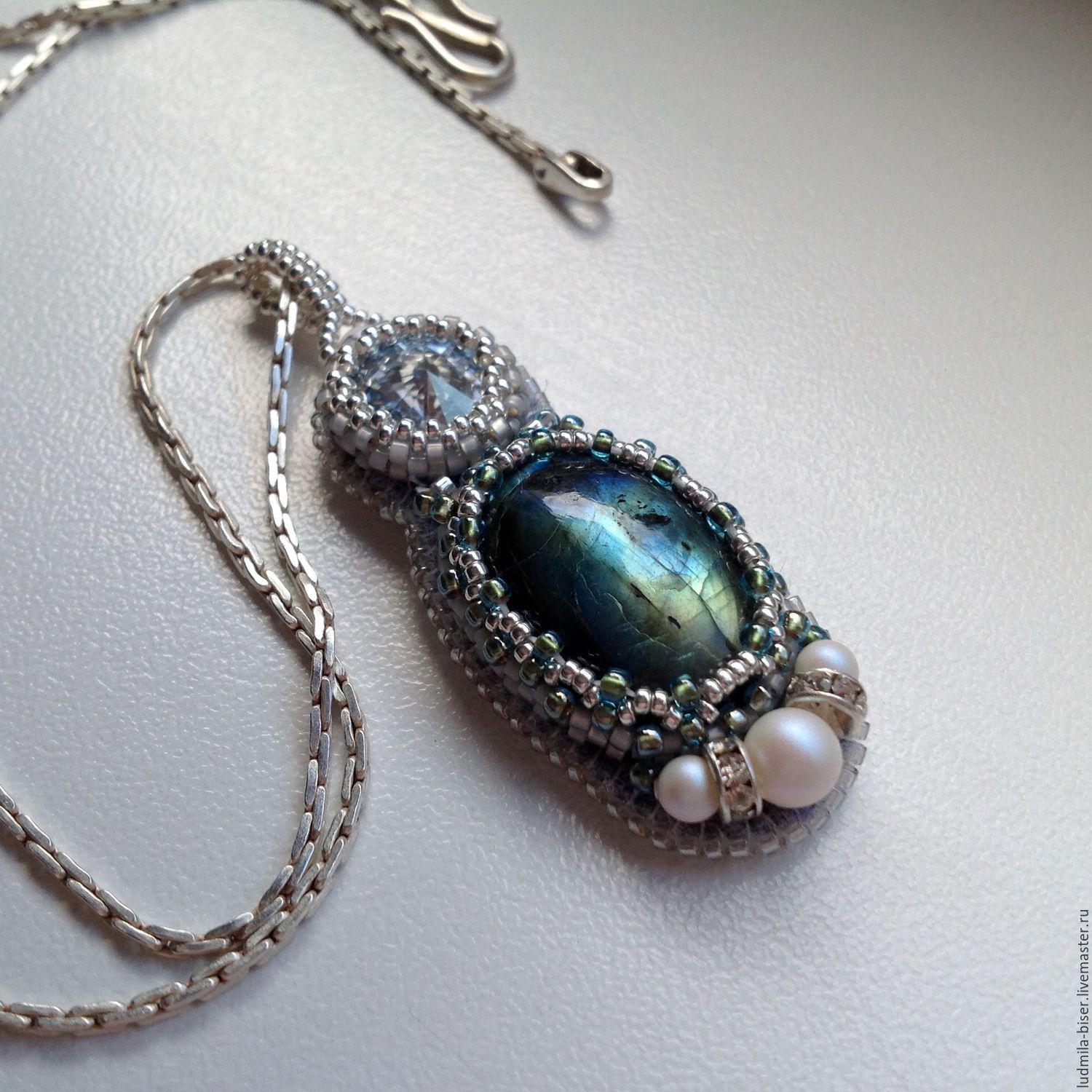 Silver pendant with labradorite 'Obsession', Pendants, Moscow,  Фото №1
