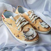 """Обувь ручной работы. Ярмарка Мастеров - ручная работа Кеды женские с рисунком на заказ """"Чашка кофе"""",  роспись.. Handmade."""