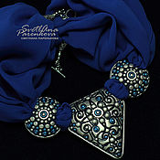 Украшения handmade. Livemaster - original item Polymer clay necklace classic blue (388). Handmade.