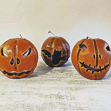 Для дома и интерьера ручной работы. Ярмарка Мастеров - ручная работа Свеча тыква на Хэллоуин. Handmade.
