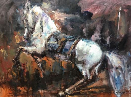 """Животные ручной работы. Ярмарка Мастеров - ручная работа. Купить Картина маслом """"Конь. Встав на дыбы"""". Handmade. Комбинированный"""