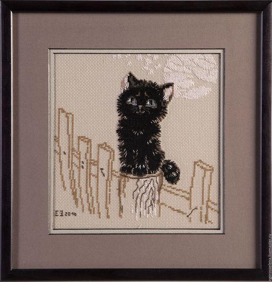 """Животные ручной работы. Ярмарка Мастеров - ручная работа. Купить """"Мечтатель"""". Handmade. Коричневый, кот, черный, забор, вышивка"""