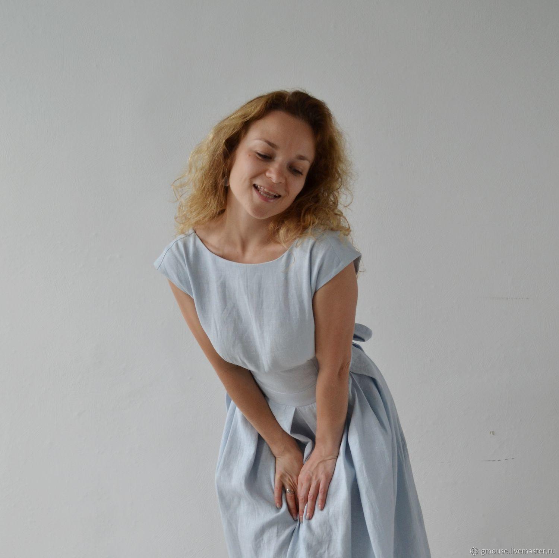 Платье с открытой спиной из льна ЦВЕТ ДОЖДЯ, Платья, Москва,  Фото №1