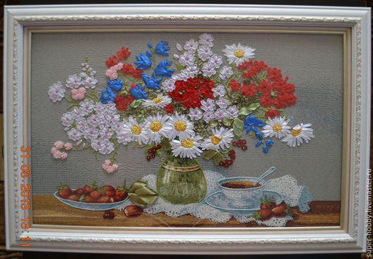 Картины цветов ручной работы. Ярмарка Мастеров - ручная работа. Купить Утреннее настроение. Handmade. Вышивка лентами, вышивка