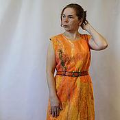 Одежда handmade. Livemaster - original item Felted dress Sunny beach. Handmade.