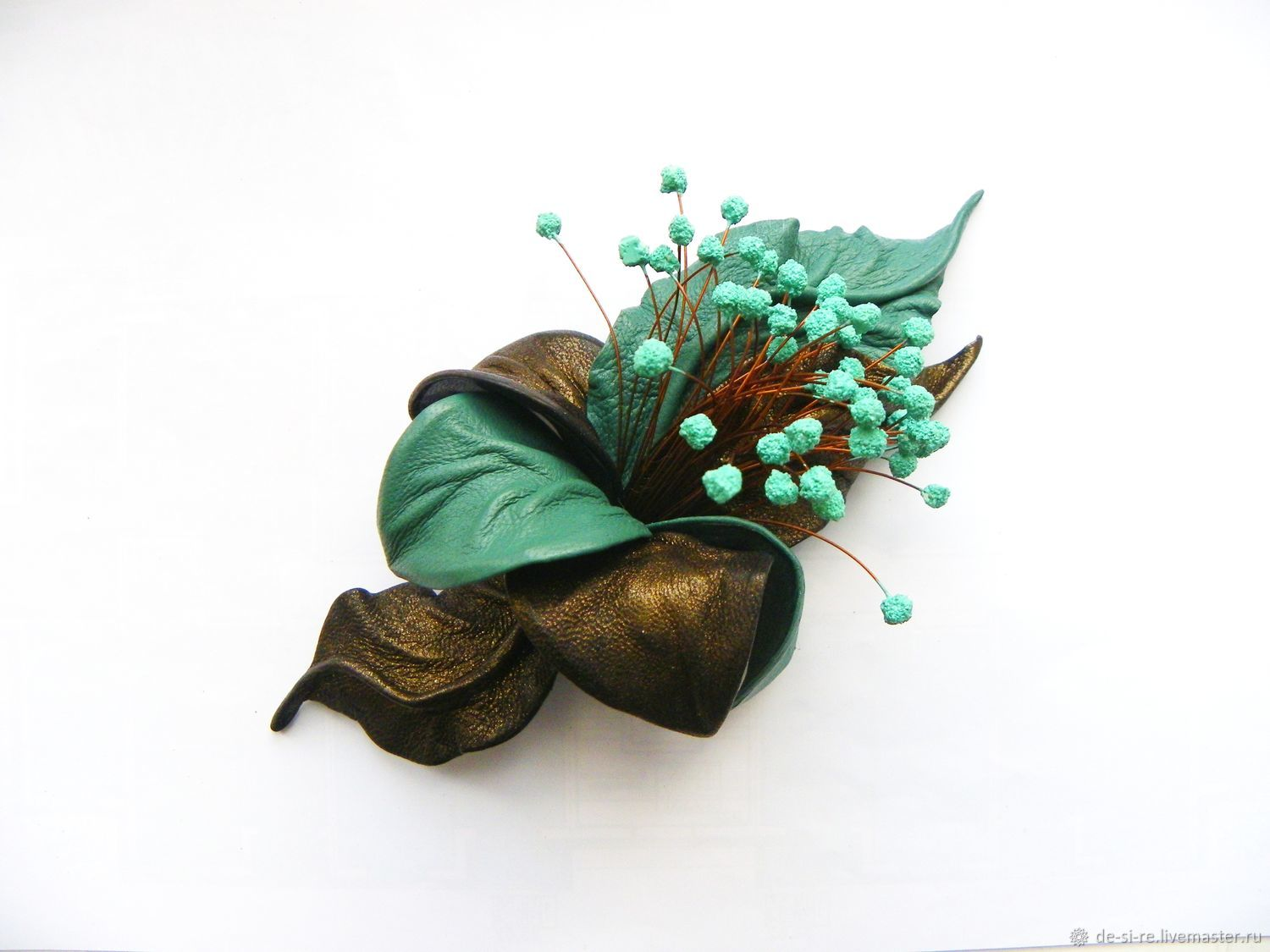 Brooch flower leather bronze stamens olive mint emerald sea wave. Brooch in gift to buy. gift girl woman.Gift brooch for sale. Brooch in gift decoration leather.