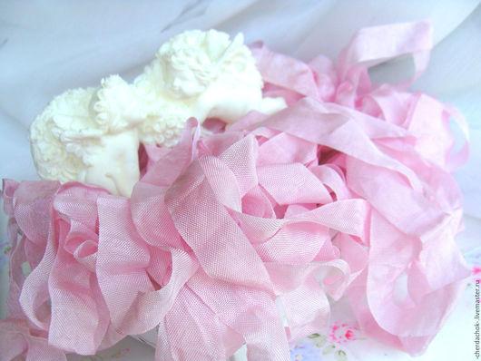 Открытки и скрапбукинг ручной работы. Ярмарка Мастеров - ручная работа. Купить Шебби-лента Розовый тюльпан. Handmade. Мятая лента