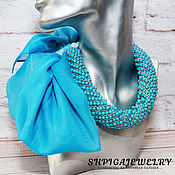 Necklace handmade. Livemaster - original item Scarf-transformer necklace with turquoise