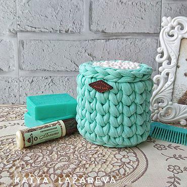Для дома и интерьера ручной работы. Ярмарка Мастеров - ручная работа Мятный. Баночка для ватных палочек из трикотажной пряжи голубая. Handmade.