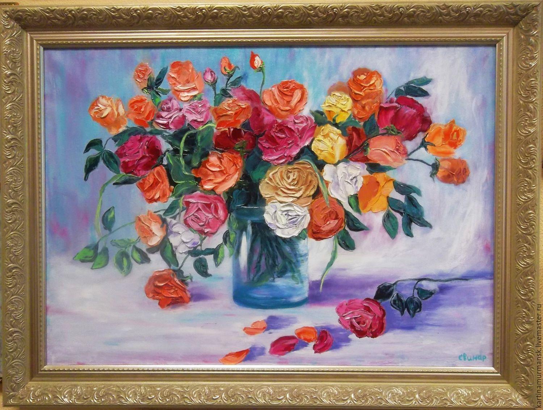 """Картина маслом цветы 50/70 """"Желанные розы"""", Pictures, Murmansk,  Фото №1"""