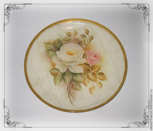 """Тарелки ручной работы. Ярмарка Мастеров - ручная работа. Купить Тарелка """"Винтажные розы"""". Handmade. Бежевый, тарелка сувенирная, розы"""