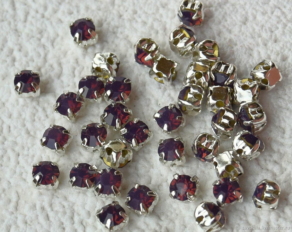 Стразы горный хрусталь цвет фиолетовый опал,  SS16 - 4 мм