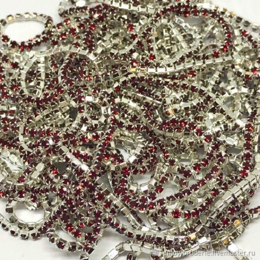 Стразовая лента бордовая в серебре, 1,4 мм, 10 см, Кристаллы, Санкт-Петербург,  Фото №1