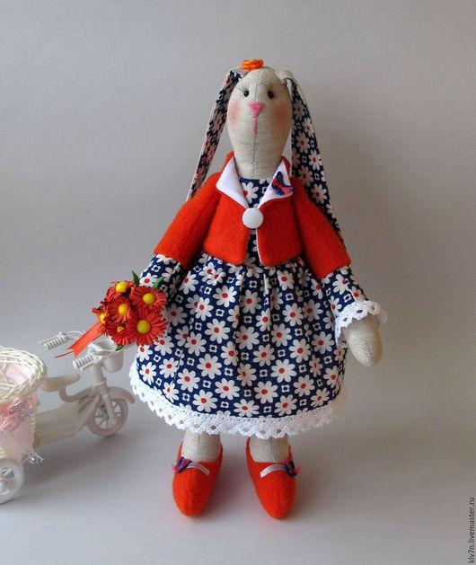 Куклы Тильды ручной работы. Ярмарка Мастеров - ручная работа. Купить Зайка с букетом. Handmade. Комбинированный, купить подарок, хлопок