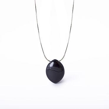 Decorations handmade. Livemaster - original item Black agate stone pendant, 925 sterling silver. Art.143. Handmade.
