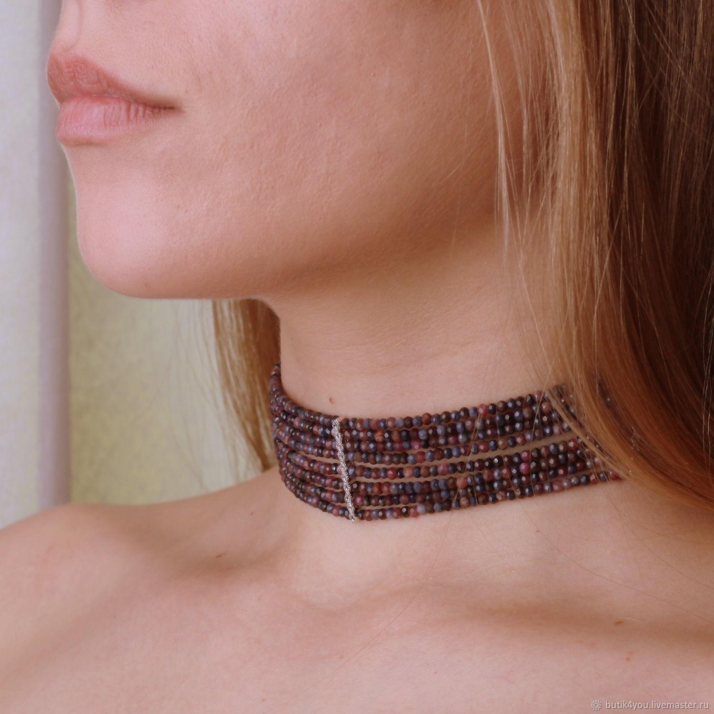 'Sapphire ruby' choker,sapphires,rubies,silver 925, Chokers, Moscow,  Фото №1