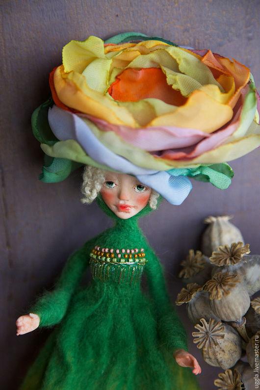 Коллекционные куклы ручной работы. Ярмарка Мастеров - ручная работа. Купить Лотта. Кукла-цветок из шерсти.. Handmade. Зеленый, акрил