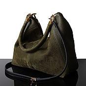 Сумки и аксессуары handmade. Livemaster - original item Hobo Olive, suede leather bag, green suede bag. Handmade.