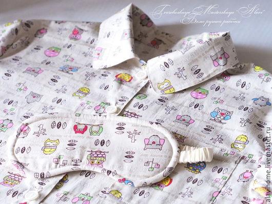 """Белье ручной работы. Ярмарка Мастеров - ручная работа. Купить """"Совушкины сны"""". Пижамка из хлопка. Handmade. Комбинированный, пижама"""