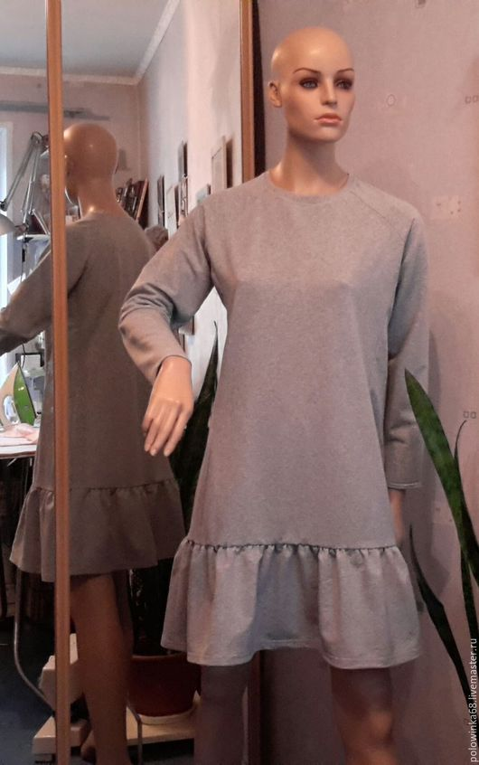 Платья ручной работы. Ярмарка Мастеров - ручная работа. Купить Платье трикотажное. Handmade. Серый, трикотажное платье, повседневное платье