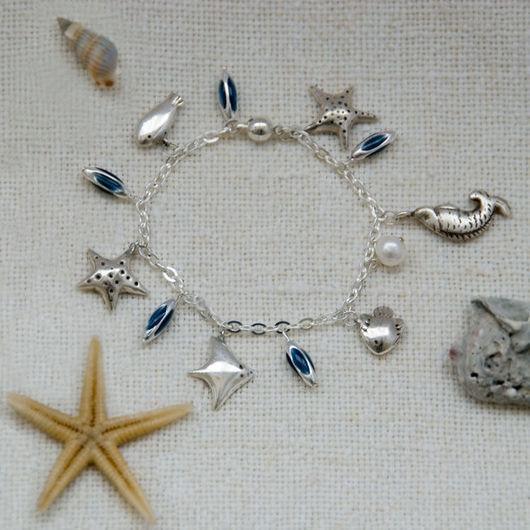 """Браслеты ручной работы. Ярмарка Мастеров - ручная работа. Купить Браслет """"Морские зверушки"""". Handmade. Серебро, браслет, серебряный браслет"""