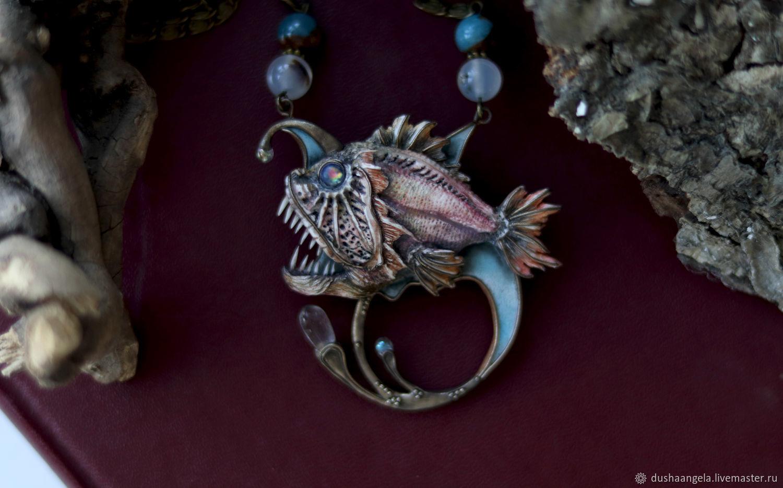 Necklace 'Angler' sculpture, miniature, Necklace, Vladimir,  Фото №1