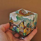 """Для дома и интерьера ручной работы. Ярмарка Мастеров - ручная работа маленькая шкатулка для украшений""""птичка над городом``ручная роспись. Handmade."""