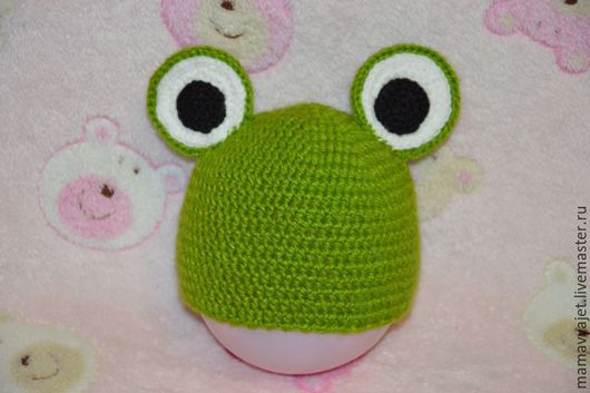 Для новорожденных, ручной работы. Ярмарка Мастеров - ручная работа. Купить Шапочка лягушонок для фотосессии. Handmade. Зеленый, шапочка лягушонок