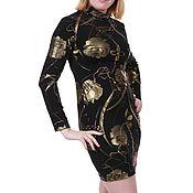 """Одежда ручной работы. Ярмарка Мастеров - ручная работа Трикотажное платье  """" Темное золото"""". Handmade."""