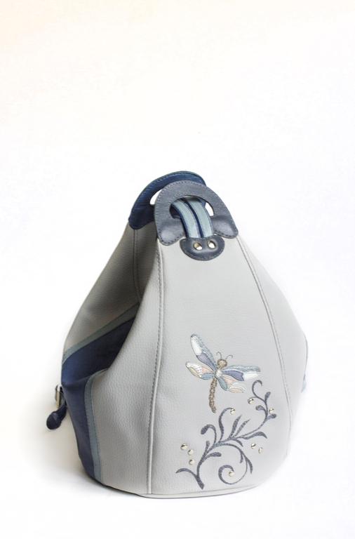 """Женские сумки ручной работы. Ярмарка Мастеров - ручная работа. Купить Женская сумка-рюкзак """"Стрекоза"""". Handmade. Серый, рюкзак"""