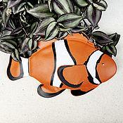 Классическая сумка ручной работы. Ярмарка Мастеров - ручная работа Рыбка Клоун сумка из фетра/кожи. Handmade.
