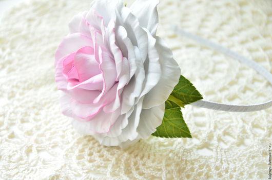 """Диадемы, обручи ручной работы. Ярмарка Мастеров - ручная работа. Купить Ободок с розой """"Белая красавица"""". Handmade. Белый"""