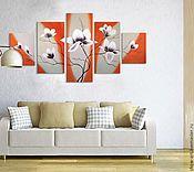 """Картины и панно ручной работы. Ярмарка Мастеров - ручная работа """"Оранжевое настроение"""" модульная картина. Handmade."""