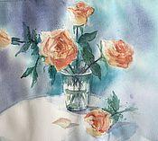 """Картины и панно ручной работы. Ярмарка Мастеров - ручная работа """"Нежные розы"""", акварель. Handmade."""