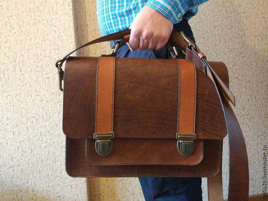 Мужские сумки ручной работы. Ярмарка Мастеров - ручная работа. Купить Портфель кожаный мужской. Handmade. Коричневый