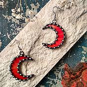 Украшения handmade. Livemaster - original item Moon Earrings Orange-red (e-003-02). Handmade.