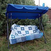 """Для дома и интерьера ручной работы. Ярмарка Мастеров - ручная работа Лоскутное одеяло """"Голубые узоры"""". Handmade."""