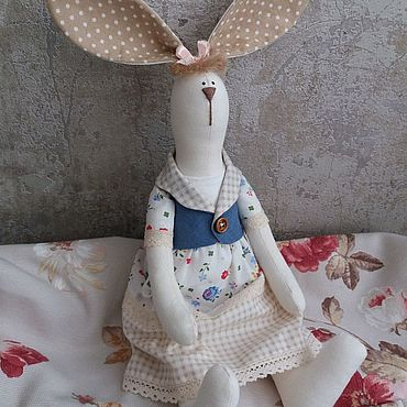 Куклы и игрушки ручной работы. Ярмарка Мастеров - ручная работа Зайка в стиле Тильда в платье в цветочек. Handmade.