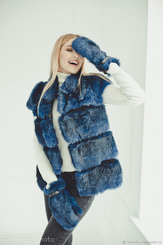 Rabbit fur vest in blue, Vests, Moscow,  Фото №1