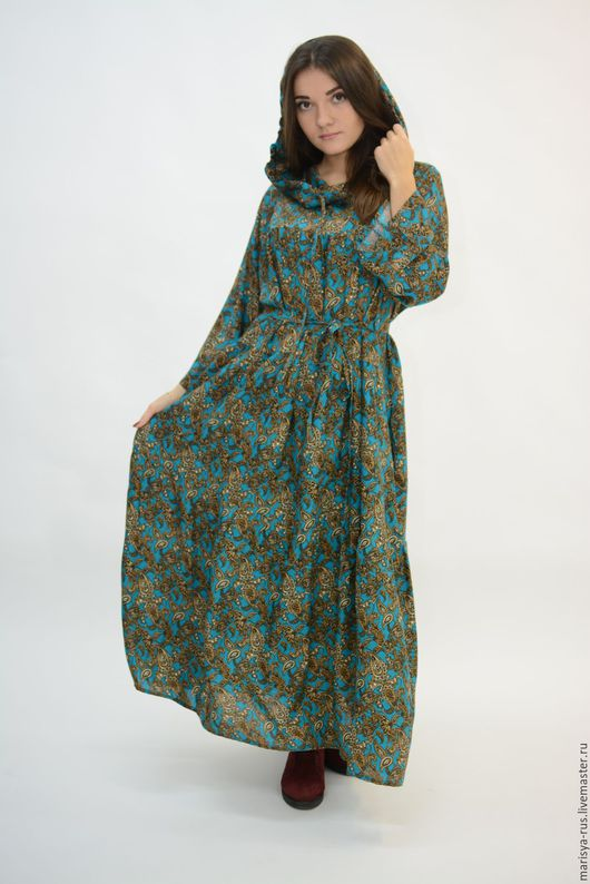 """Платья ручной работы. Ярмарка Мастеров - ручная работа. Купить Платье """"Валам"""" с капюшоном. Handmade. Зеленый, длинное платье в пол"""
