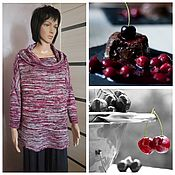 Одежда handmade. Livemaster - original item Loose tunic cherry in chocolate. Handmade.