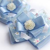 Работы для детей, ручной работы. Ярмарка Мастеров - ручная работа Нежно-голубые бантики с розочкой. Handmade.