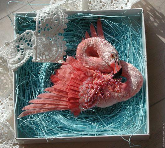 """Броши ручной работы. Ярмарка Мастеров - ручная работа. Купить Брошь """"Розовый Фламинго"""". Handmade. Розовый, текстильная брошь"""