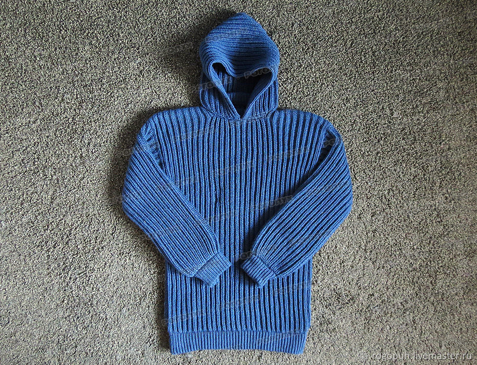 Knitted sweater with a hood, denim (No. №437), Mens sweaters, Nalchik,  Фото №1