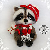 Куклы и игрушки handmade. Livemaster - original item Raccoon Fedor winter felted wool. Handmade.