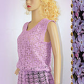 Tops handmade. Livemaster - original item Knitted purple crochet top.. Handmade.