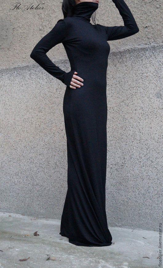 Платья ручной работы. Ярмарка Мастеров - ручная работа. Купить Длинное элегантное платье/ Экстравагантный платье/F1532. Handmade. Черный, туника