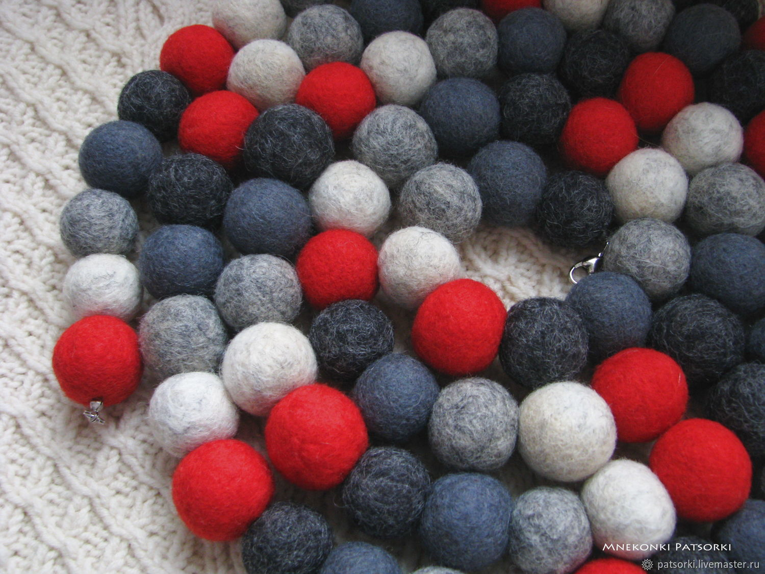 Felted setbusy of Pechorky Winter Schedule, Necklace, Ivano-Frankivsk,  Фото №1