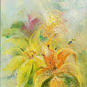 """Картины и панно ручной работы. Ярмарка Мастеров - ручная работа Картина-миниатюра """"Дождь в летнем саду"""" Луч. Handmade."""
